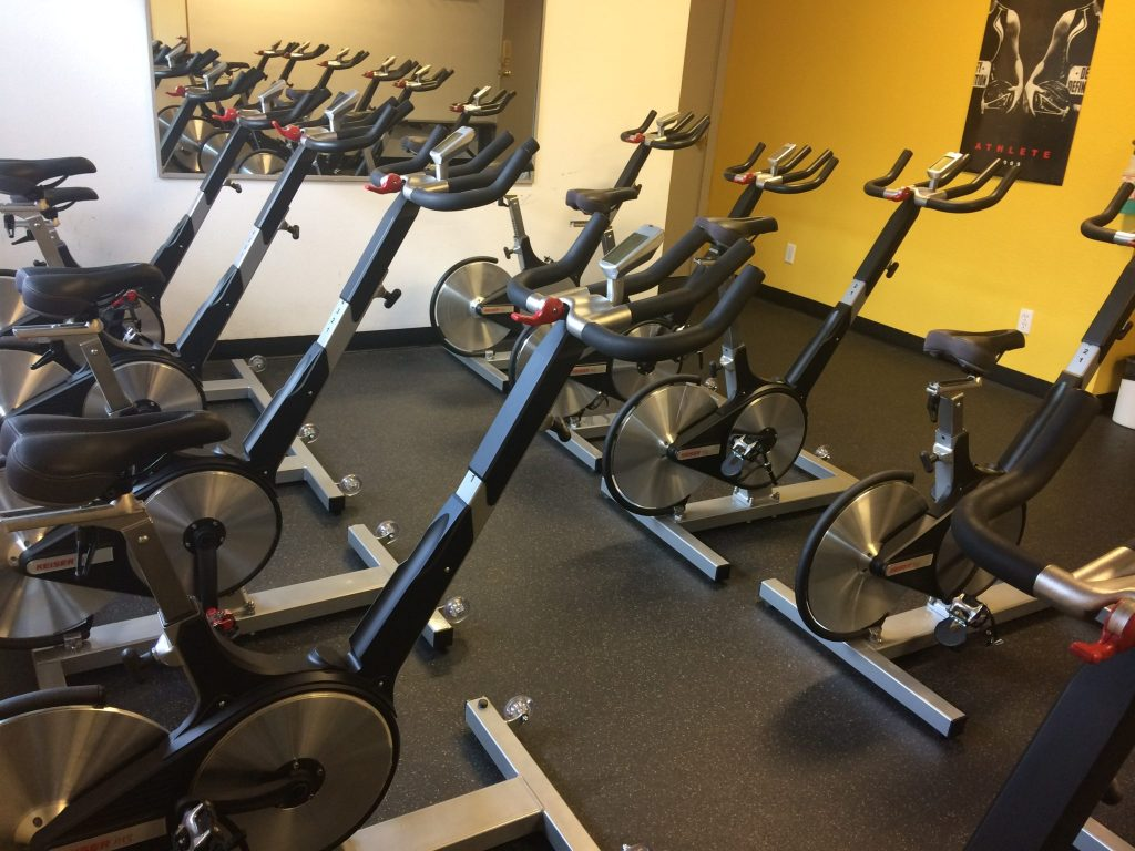 Indoor cycling bikes at Colorado 24/7 Fitness-Basalt.