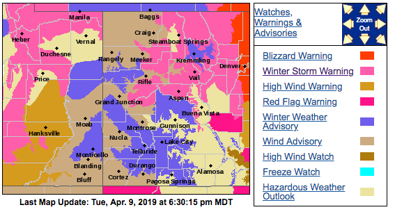 Warnings and watches for western Colorado through April 11.