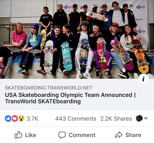An incorrect headline from Transworld Skateboarding suggests the U.S. Olympic skateboarding team has already been decided, when qualifiers have yet to begin.