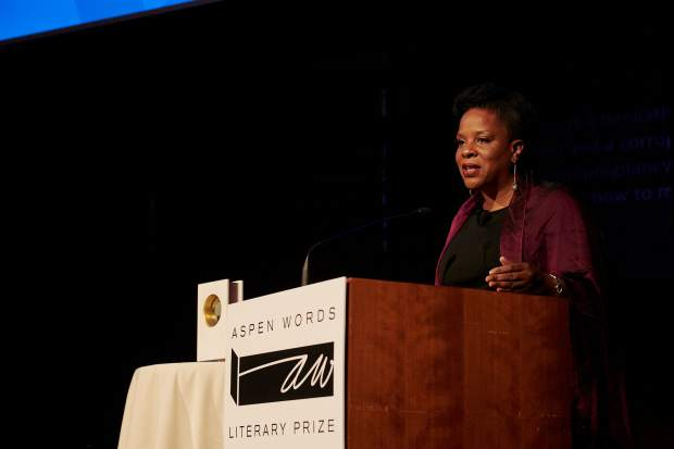 Aspen Words Literary Prize winner Tayari Jones gives her acceptance speech in April at the Morgan Library in New York.