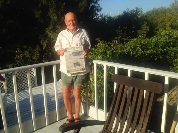 Mike Toth, who ran Mike's Foreign Car Service in Aspen from 1966 to 2000, poses with an Aspen Times in Punta Gorda, Florida. Email your