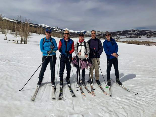 A group of neighbors enjoyed the freshly groomed cross-country ski trails on April 9 Owl Creek. Pictured from left to right are Yvonne Perry, Bruce Warren, MimiDora, Hugh Sontag and Mike Garbarini.