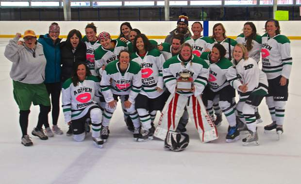The Aspen Mother Puckers B team claimed the Women's Association of Colorado Hockey Mountain Championship on April 7 over the Glenwood Springs Ice Queens in a 2-1 sudden-death overtime triump at Aspen Ice Garden. The photo was taken of the winners following the victory.
