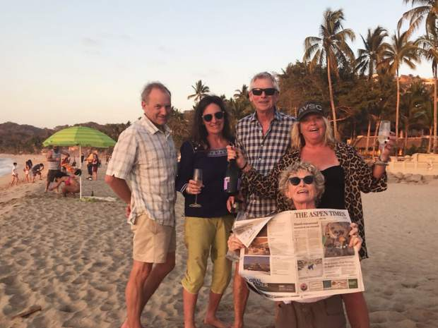 A crew of Aspen Times readers hung out at Sayulita beach in Nayarit, Mexico, last week. Pictured, from left to right, are Bruce Nicholson, Tracy Burnham, David Williams, Shelley Spalding and BJ Williams all enjoying a champagne sunset.
