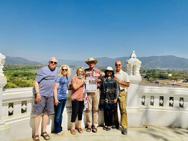 Snowmass Village residents Bart and Diane Menscher, Paula and Bill Turner, and Nittaya and Bruce Kososki enjoyed a recent trip to the mighty Mekong River in the Chiang Rai region of northern Thailand, with the shores of Myanmar and Laos visible across the river. Email your