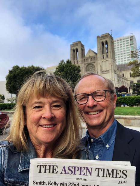 Carbondale residents Annette and Brian McEachron displayed an Aspen Times on Palm Sunday in front of Grace Cathedral in San Francisco.
