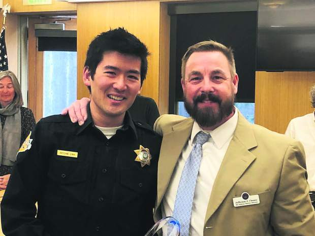 Aspen police detective Ritchie Zah recently was named the 2018 Law Enforcement Officer of the Year for criminal investigations by District Attorney Jeff Cheney. The award, an annual recognition selected by the 9th Judicial District Attorney's Office, was presented to Zah at Monday's Aspen City Council meeting. Detective Sgt. Rick Magnuson nominated Zah for his excellence in investigations. Zah is a seven-year veteran of the Aspen Police Department and the senior investigator for the department. Pictured are Zah and Cheney.