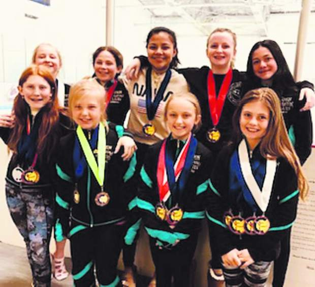 Aspen Skating Club sent 10 skaters to the Fort Collins Classic Figure Skating Competition earlier this month. The team received 17 first-place honors, five second-places, five third-places and four fourth-places. Pictured, left to right on the front row, are Savannah Kallas, Jaqueline Dohner, Malia Ramsey and Lily Barbin. On the top row are MacKenzie Klindworth, Quintessa Frisch, Evelyn Stefli, Corrie Buchanan and Putri Hunting. Not pictured is Sophia Mandt.