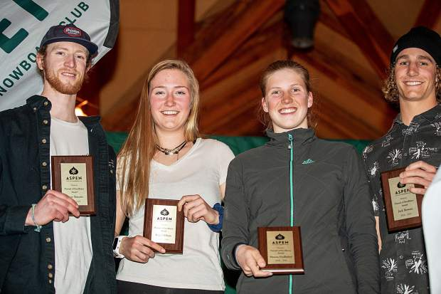AVSC Pursuit of Excellence award recipients left to right, Shane Serrano, Kate Oldham, Hanna Faulhaber, and Jack Bowers at the awards banquet dinner held at Bumps at Buttermilk Friday evening.