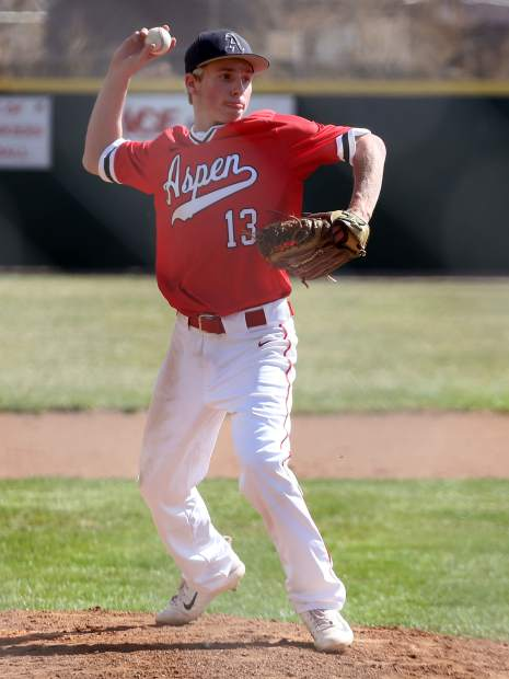 Aspen High School pitcher Jack Pevny throws toward first base in the baseball against Steamboat Springs on Monday, April 8, 2019, at Crawford Field in El Jebel. (Photo by Austin Colbert/The Aspen Times).