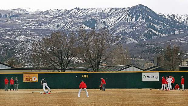 Aspen High School baseball practice on Tuesday, April 2, 2019, at Crawford Field in El Jebel. (Photo by Austin Colbert/The Aspen Times).