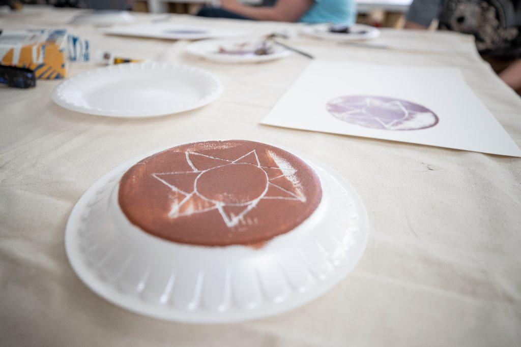 Works of art being created by print making at the Aspen Art Museum with Ascendigo participants on March 26.