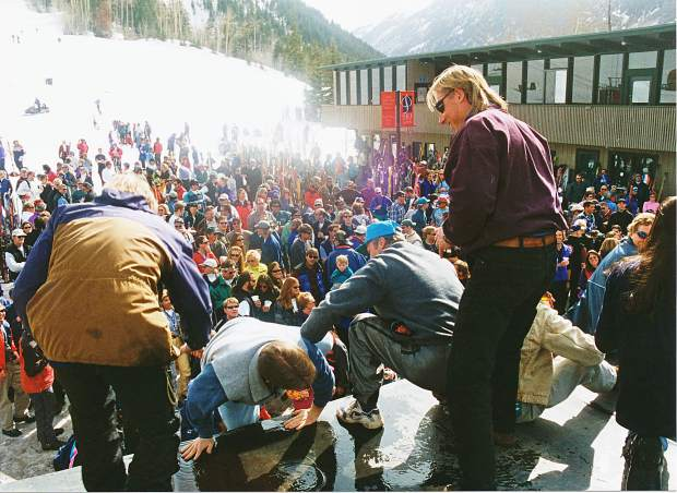 A legendary closing day rager at the base of Aspen Highlands on April 5, 1998. People were partying on the roof of the bar, which was demolished the following day.