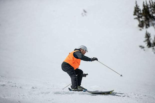 Blind skier and adventurer Erik Weihenmayer skis down Highland Bowl on April 9.