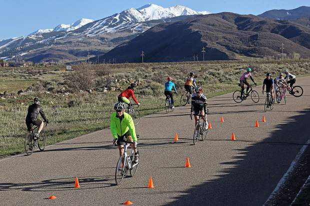 People take part in the Aspen Cycling Club's skills clinic last April in Woody Creek.