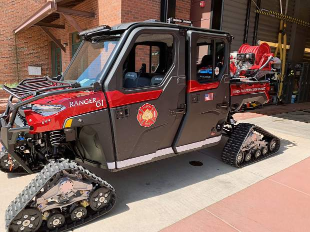 Aspen Fire Department's new off-road, quick-response vehicle is fitted with tracks during winters and tires during summers. It will be used to access areas fire trucks cannot easily reach.
