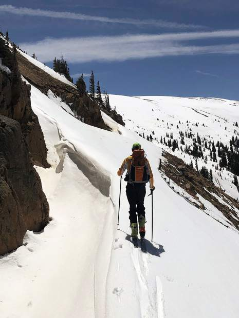 Greg Albrecht skins on the Final Cut of Independence Pass on Thursday. Highway 82 is down below somewhere.