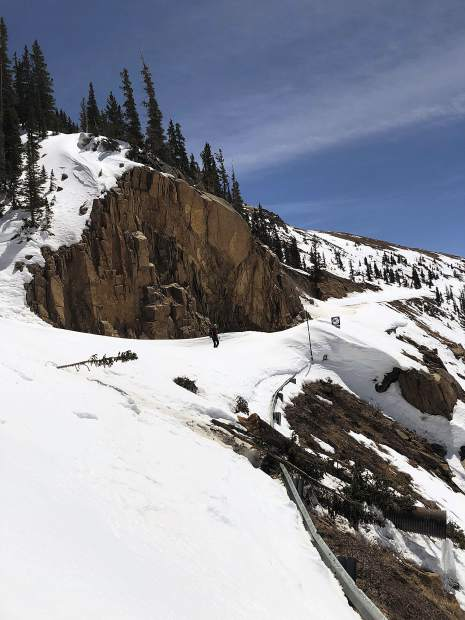 A small slide crossed Highway 82 on the Final Cut before the summit of Independence Pass.