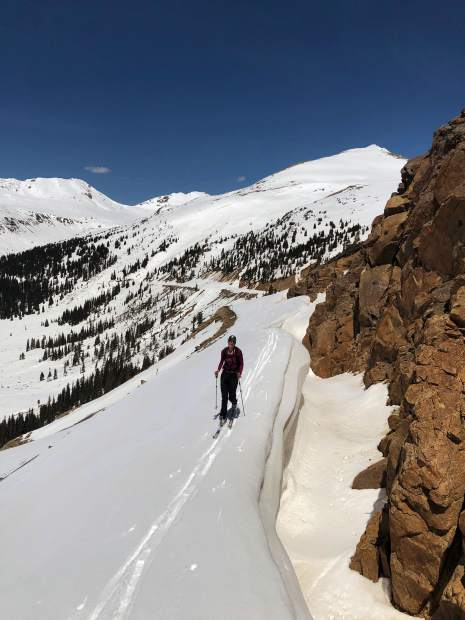 Karin Teague, executive director of the Independence Pass Foundation, makes her way Thursday to the summit of the pass.