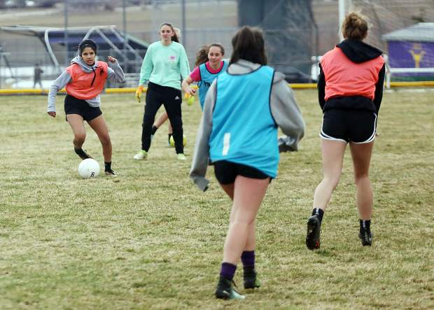 Basalt High School girls soccer practice on Tuesday, April 2, 2019, in Basalt. (Photo by Austin Colbert/The Aspen Times).