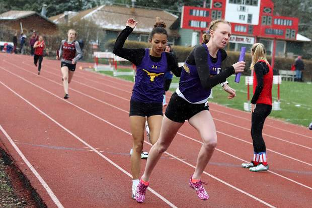 Basalt High School senior Megan Maley, right, competes in a meet earlier this season.