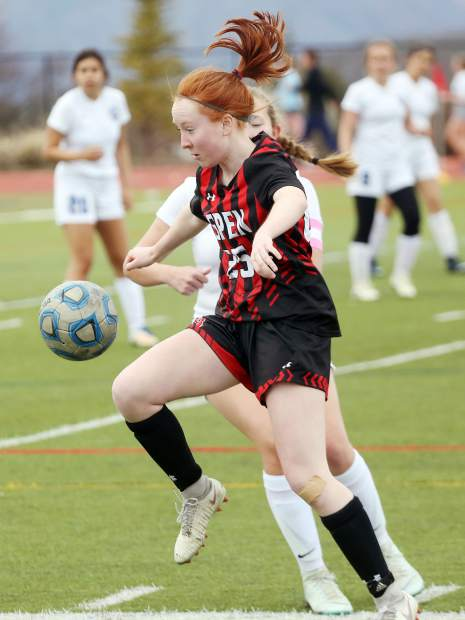Aspen High School sophomore Kelley Francis controls the ball in the girls soccer game against Coal Ridge on Tuesday, April 16, 2019, on the AHS turf. (photo by Austin Colbert/The Aspen Times).