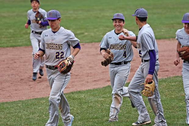 Basalt High School baseball players celebrate during Tuesday's game against Aspen.