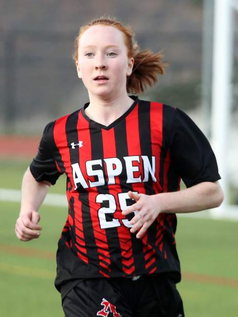 Aspen High School sophomore Kelley Francis plays in the girls soccer game against Roaring Fork on Thursday, April 25, 2019, on the AHS turf. Aspen won, 3-1. (Photo by Austin Colbert/The Aspen Times).