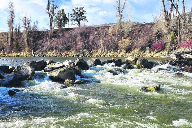 The rocks across the Roaring Fork River in Basalt as part of the Robinson Ditch diversion structure, on April 6, 2019. This was the result after repairs to the diversion structure in late March, but before an adjustment on April 15.