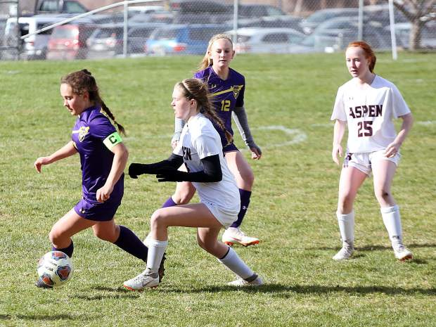 The Aspen High School girls soccer team against Basalt on Thursday, April 11, 2019, in Basalt. (Photo by Austin Colbert/The Aspen Times).