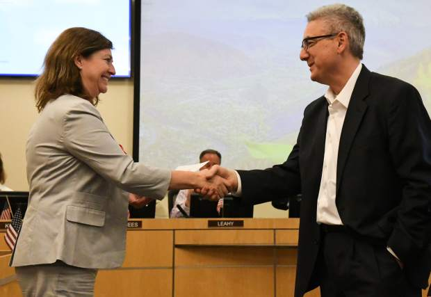 Tony Hershey is sworn into the at-large council during Thursday night's Glenwood Springs City Council meeting.