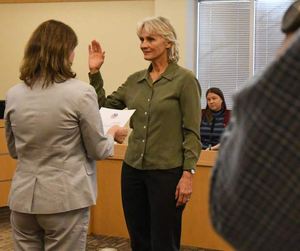 Paula Stepp is sworn into the Ward 4 Glenwood Springs City Council seat to start Thursday night's meeting.