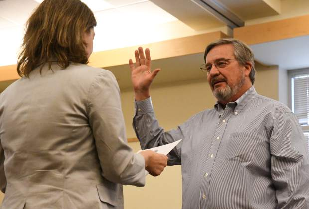 Charlie Willman is sworn into the Glenwood Springs City Council Ward 3 seat during Thursday night's council meeting.