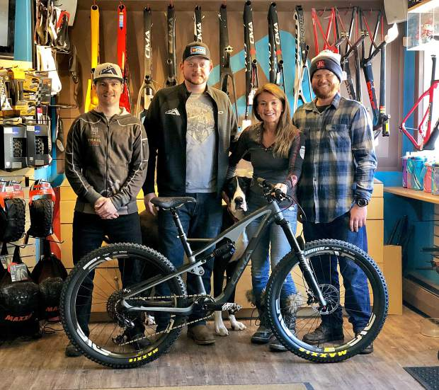 Cima Highlands Bicycle Presented To A Volunteer On Summer Trail Projects Presenting The Bike At Left Right Greg Pj And Tyler Of Ute City Cycles