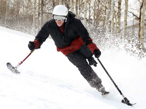 George Kellogg, a former Marine and one-legged skier, takes part in the National Disabled Veterans Winter Sports Clinic in Snowmass on Wednesday, April 3, 2019. (Photo by Austin Colbert).
