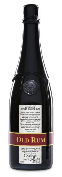 """The Goslings """"Old Rum"""" is an homage to the original practice of sealing the top of a leftover champagne bottle with wax to close the Rum inside. Today the bottle's for the Old Rum are sourced from the Champagne region of France."""