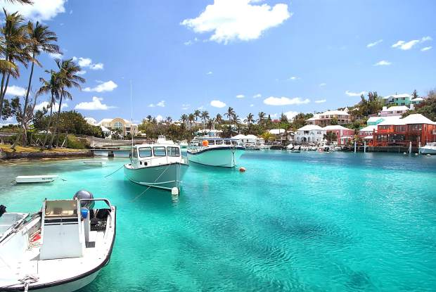 Is this what you think of when you think of when you sip a tropical drink? The waters of Hamilton, Bermuda, lap the shores that are the home of Goslings Rum, who have trademarked the Dark 'n Stormy cocktail name.