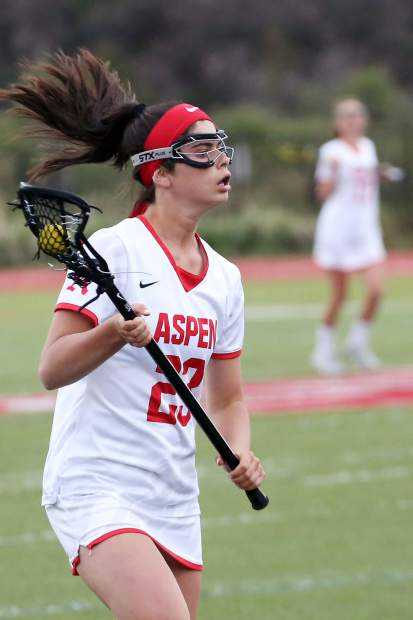Aspen High School senior Kate Citron looks for passing options in the girls lacrosse game against Valor Christian in the state quarterfinals on Wednesday, May 15, 2019, on the AHS turf. (Photo by Austin Colbert/The Aspen Times)