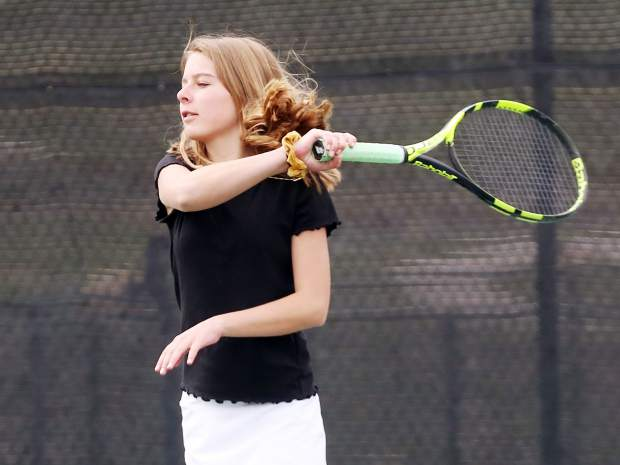 Junior Karina Keller practices Monday, May 6, 2019, at Snowmass Club, only days before the Aspen High School girls tennis team heads to the Class 3A state tennis championships, which get underway Thursday in Greeley. (Photo by Austin Colbert/The Aspen Times)