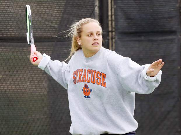 Senior Mary Williams practices Monday, May 6, 2019, at Snowmass Club, only days before the Aspen High School girls tennis team heads to the Class 3A state tennis championships, which get underway Thursday in Greeley. (Photo by Austin Colbert/The Aspen Times)