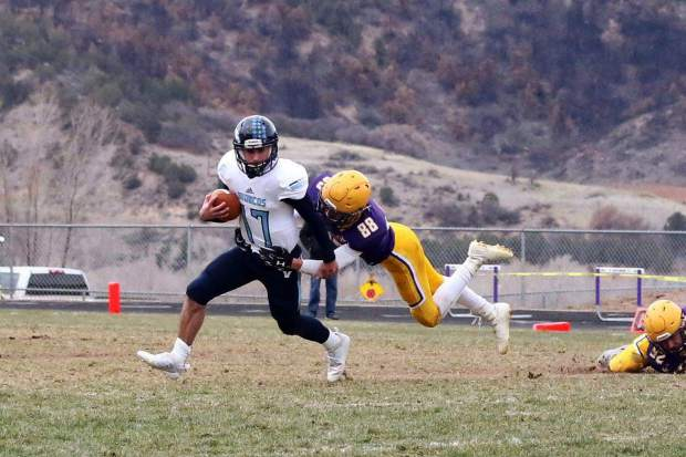 Basalt High School senior Tai Kim plays in a Longhorn football game. Kim will attend the Air Force Academy after graduating from BHS this weekend.