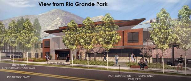 An architect's rendering of what the city office building will look like from Rio Grande Place.