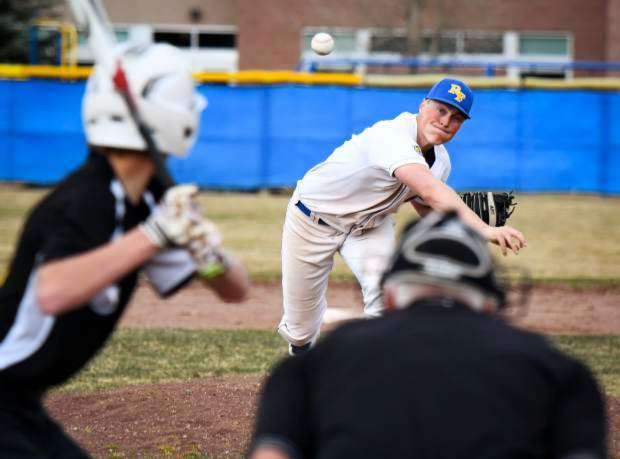 Roaring Fork senior Dawson Kuhl fires a pitch to home plate during a home game at Ron Patch Memorial Field against the Aspen Skiers early in the 2019 season. Kuhl has played shortstop, second base, catcher and pitcher for the Rams this spring.