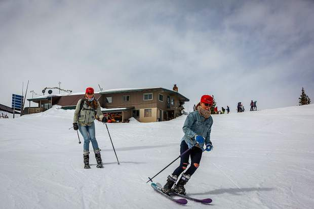 Patsy Bitter and Taylor Stanford head down the Silver Bell run for some Memorial Day turns. Aspen Skiing Co. said the extended season will continue on June 8-9.