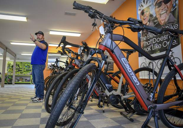 Dave Iverson, owner of Colorado Electric Bikes in Glenwood Springs, talks about the different models and types of electric bikes he offers at his new store on Grand Avenue.