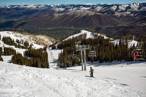 A view of Ajax Express lift and the sunny conditions Saturday for Aspen Mountain's bonus ski day.