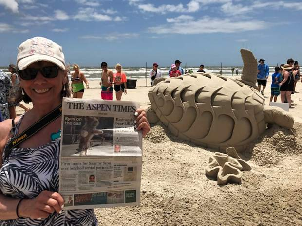 Reader Leona Lacasse recently enjoyed hanging out with The Aspen Times while at the Texas Sandfest on Mustang Island. Email your