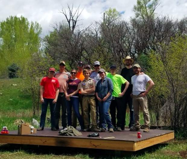 Aspen High School freshman Bo Melton's Eagle Scout Project was a tent platform and Trail put on the Bridges High School outdoor ed site. Melton credited a number of contributors — Keelty Construction, Patrick Keelty, Builder First Source, Holmbeck Construction, Eagle Rise Ranch, Season Property Maintenance, Roaring Fork Fire Rescue Authority, Derrick ad Sam Maness, Jack Albright — for helping him get the job done. He also thanked those who helped him with the tent platform as well as the firefighters who participated.