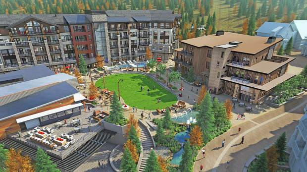 Rendering of the Snowmass Base Village Plaza in summertime.