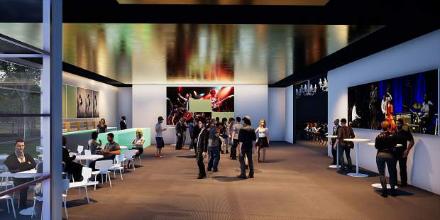 This image depicts the lobby of The Contemporary, a 8,900-square-foot, first phase of a permanent performing arts center in Basalt.
